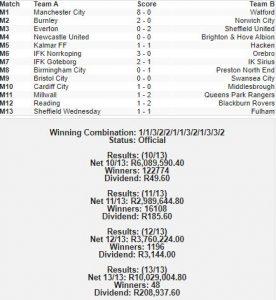 soccer 13 results